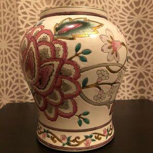 Vintage White Pink Green & Gold Floral Vase